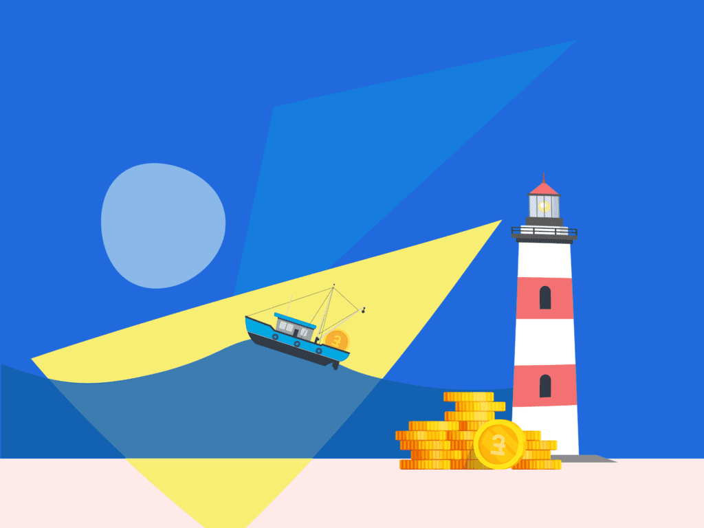 Illustration of lighthouse shining a light on boat on choppy water