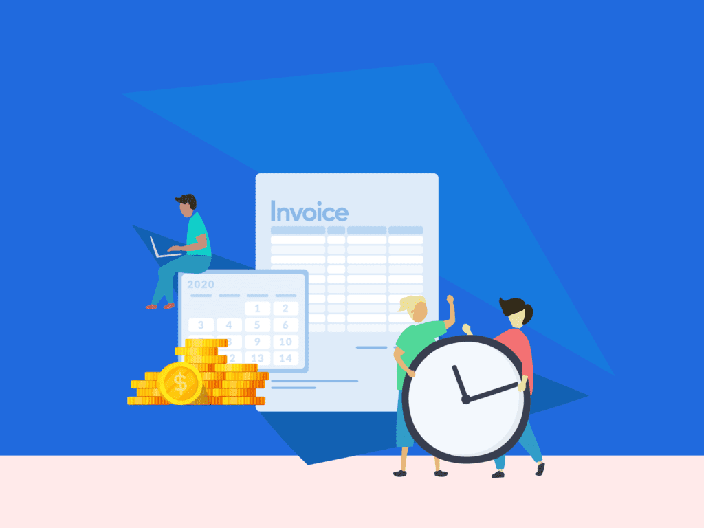 Ginat invoice illustration with clock and two people