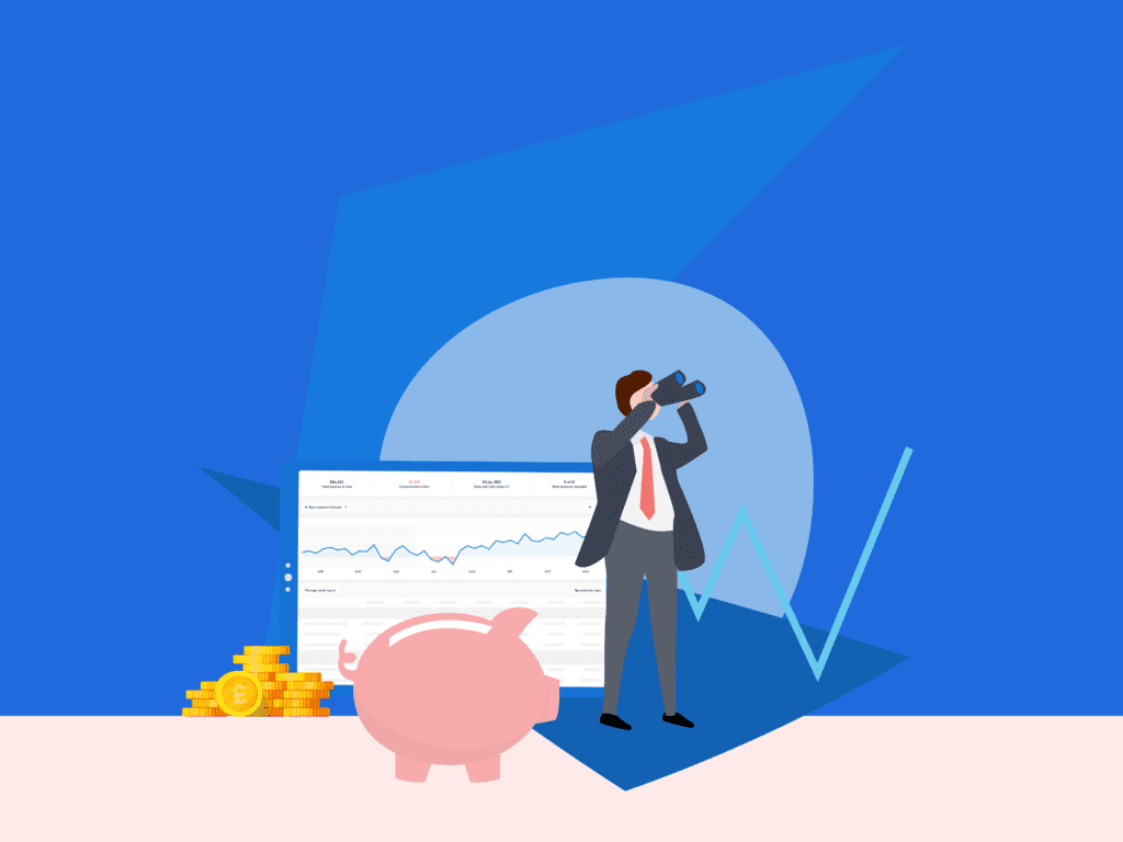 Illustration of man looking through binoculars with piggy bank and cashflow chart